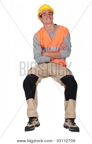 A cheerful traffic guard