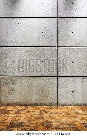 Empty stone wall with tile floor background