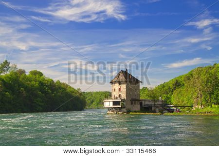 The castle Worth on the Rhine Falls. Northern Switzerland . Europe