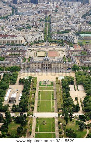 Le Champ De Mars Gardens In Paris, France