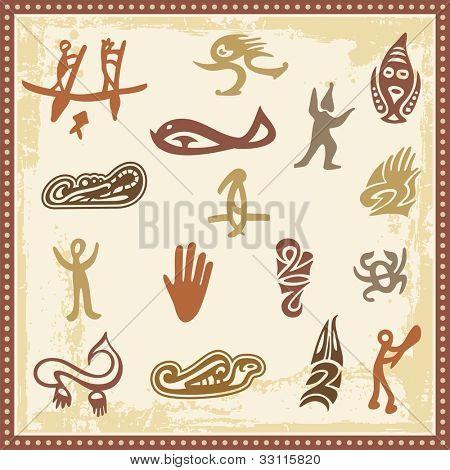 Vector set of Australian aboriginal petroglyph ornaments.