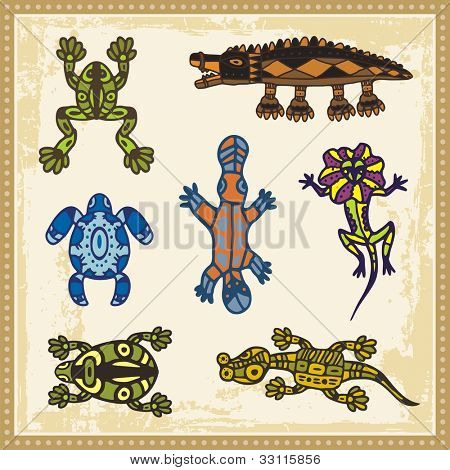 Vector set of animals in Australian aboriginal style.
