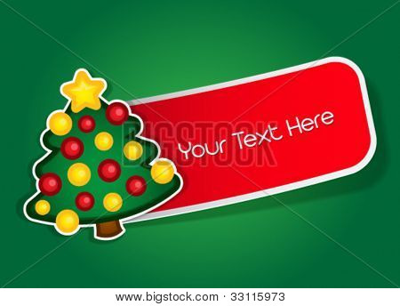 Christmas tree vector label