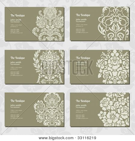 Vector Ornamental Business Card Set. Easy to edit.