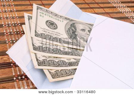 Four hundred-dollar bills in an envelope