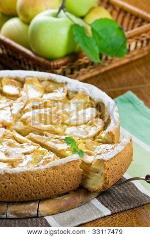 apple pie with mint twig