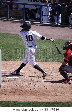 Scranton Wilkes Barre Yankees batter DeWayne Wise swings