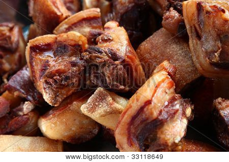 Closeup of fried meat