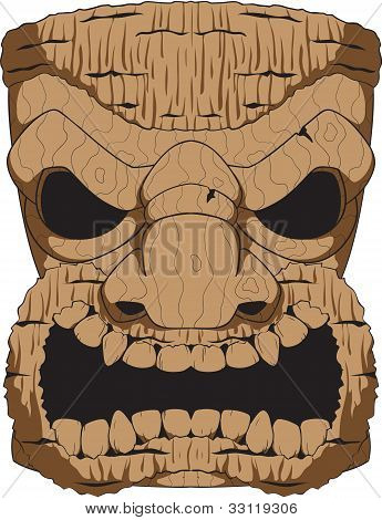 Vector Wooden Tiki Carving