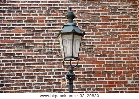 old street lamp and wall
