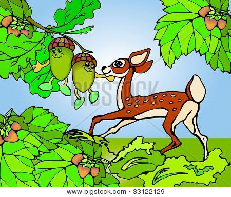 fawn plays in the green forest