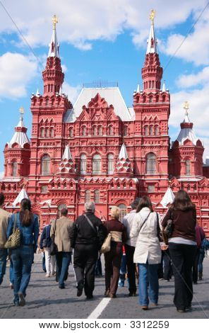 Tourists And Historical Museum On Red Sqaure