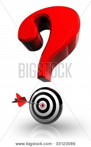 Red Questionmark And Concept Target