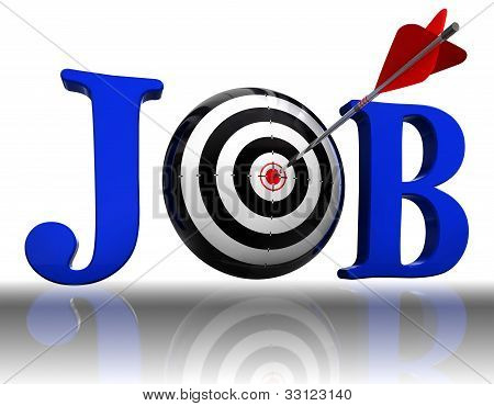 Job Blue Word And Conceptual Target