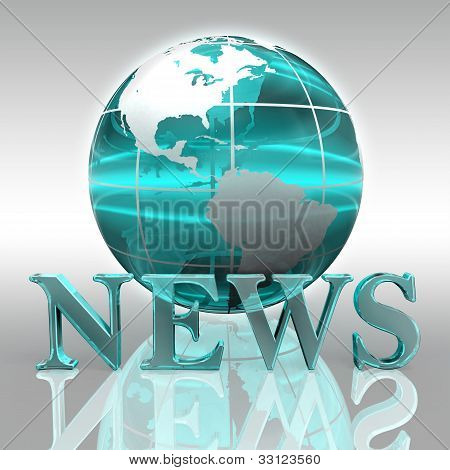 News Blue Word And Earth Globe