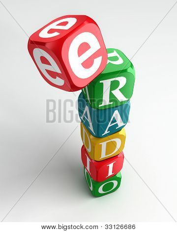E Radio Sign 3D Colorful Box Tower