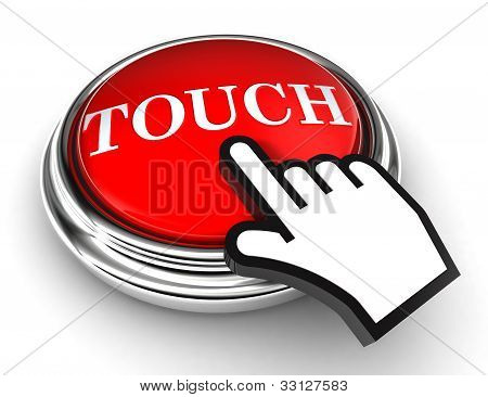 Touch Red Button And Pointer Hand