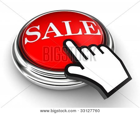 Sale Red Button And Pointer Hand
