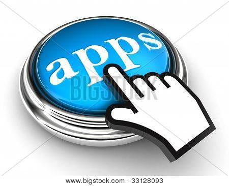 Apps Blue Button And Pointer Hand