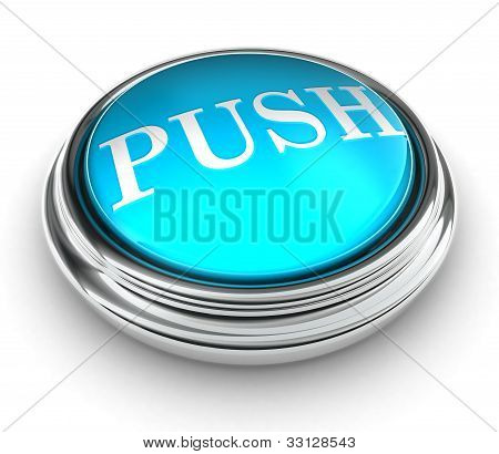 Push Word On Blue Button