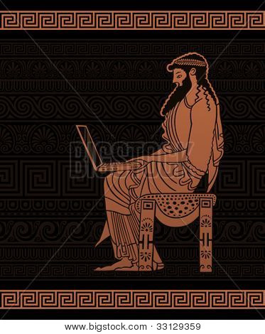 Ancient Businessman with laptop