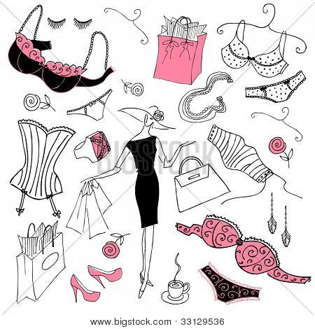 Feminine doodles, Shopping madness