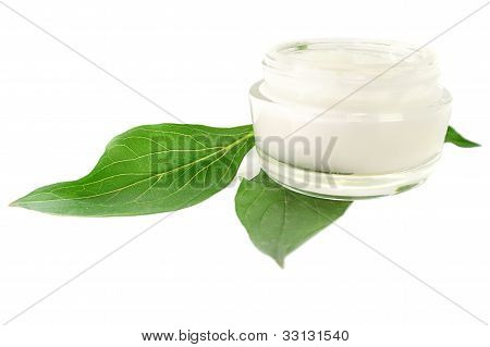 Cream Skin Care Cosmetic Bio Natural On White Background