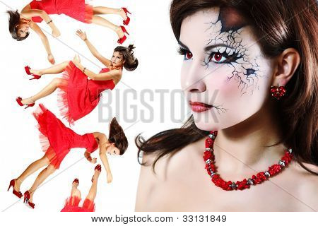 halloween broken doll beautiful girl isolated