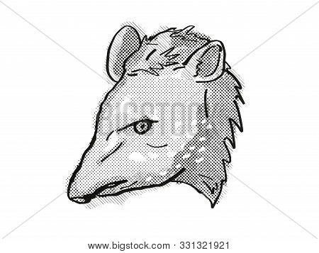 poster of Retro Cartoon Style Drawing Of Head Of A Tapir, A Large Mammal With Pig-like Appearance And An Endan