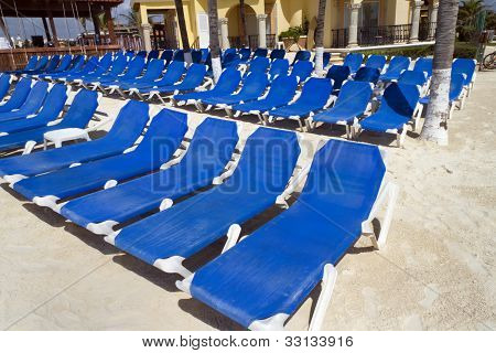 Rows Of Blue Chairs