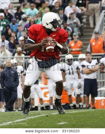 Penn State quarterback Kevin Newsome #12 drops back to pass