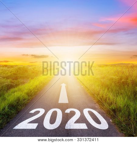 poster of Empty Asphalt Road And New Year 2020 Concept. Driving On An Empty Road To Goals 2020.
