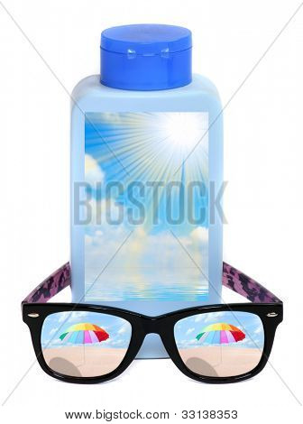 Funny picture of UV protection equipment for happy holidays. Sunglasses and sun lotion.