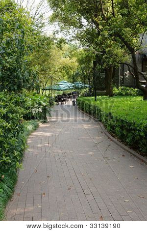 stright path in a park