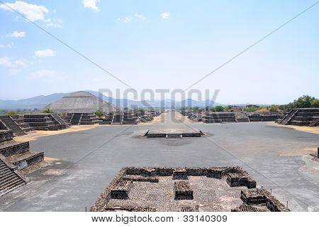 View Of Ruins Of The Avenue Of The Dead, Teotihuacan City, Mexico