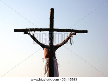 Reenactment of the play of Jesus crucifixion on the occasion of Good Friday