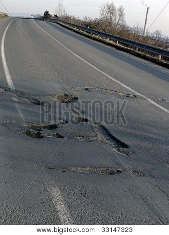 Potholes in a road