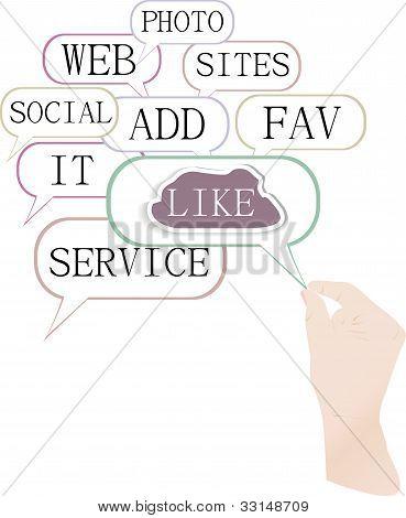 Conceito de mídia e rede social: como a nuvem com as mãos