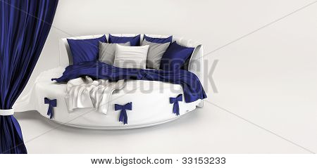 Exhibition Of Modern Bed. Interior Of White Bedroom Panorama