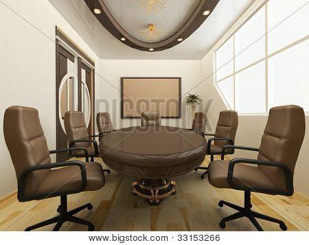 Mesa con sillas en el Interior de la oficina. Lugar de trabajo