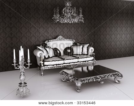 Royal Furniture In Baroque Interior. Sofa With Pillows And Table With  Candelabrum