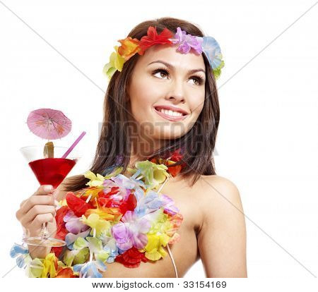 Woman in hawaii costume drink  juice. Isolated.