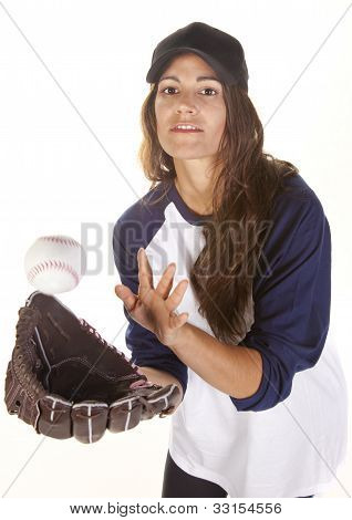 Woman Baseball or Softball Player Catching a Ball