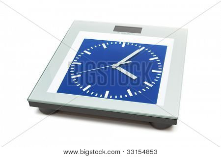bathroom scales with the clock on a white background