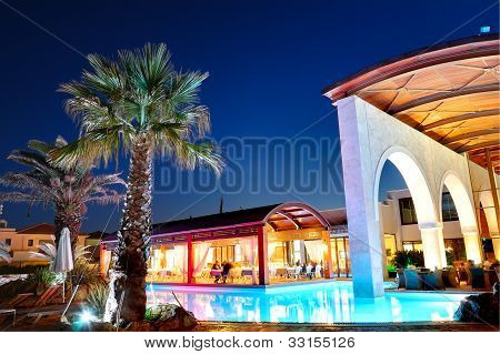 Outdoor Restaurant During Sunset At The Luxury Hotel, Pieria, Greece