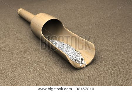 Sea Salt In A Wooden Scoop