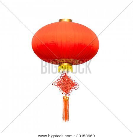 Chinese traditional decorating Knot  and lantern isolated on white background . Adobe RGB color profile used for best red color show