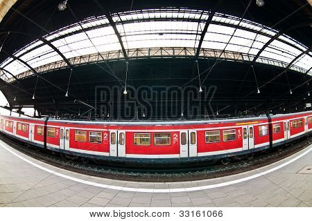 Classicistic Trainstation In Wiesbaden With Trains And A Beautiful Glass Window In The Ceiling