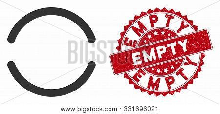 poster of Vector Empty Icon And Corroded Round Stamp Seal With Empty Caption. Flat Empty Icon Is Isolated On A