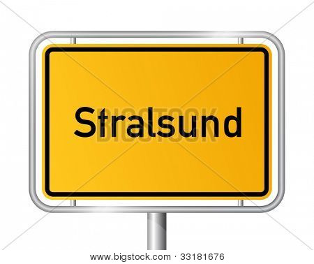 City limit sign STRALSUND against white background - Western Pomerania, Mecklenburg Vorpommern, Germany